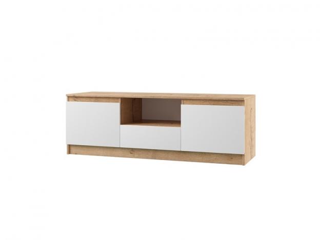 Тумба ТВ с ящиками и 2 дверями Марли МТБ1400.1 дуб бунрати-белый глянец