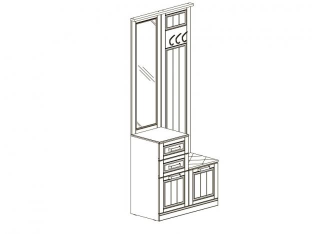 Вешалка комбинированная с зеркалом и крючками Прованс МДФ